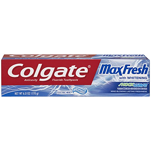Colgate Max Fresh Shockwave Gel Toothpaste, Electric Mint 6 oz (Pack of 6)