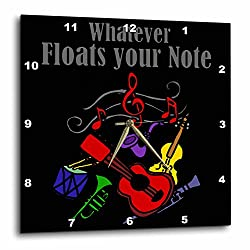 3dRose All Smiles Art Music - Fun Musical instruments art says Whatever floats your note - 10x10 Wall Clock (dpp_252611_1)