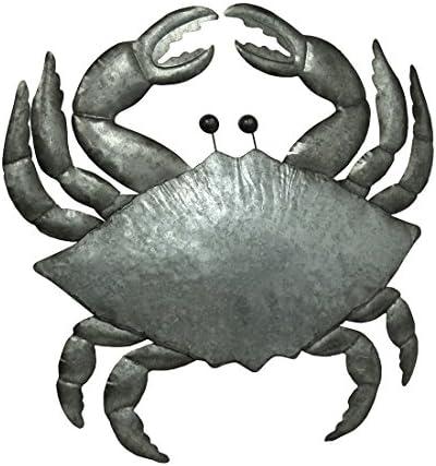 Zeckos Galvanized Metal Coastal Crab Wall Hanging 26 Inch