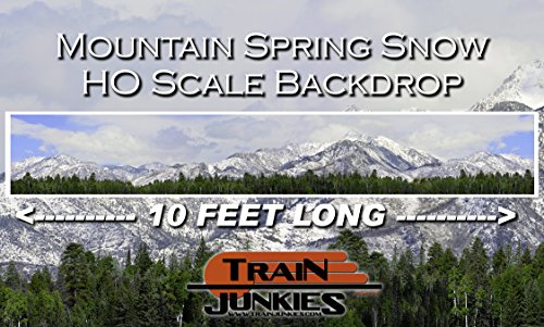 - Train Junkies Mountain Spring Snow with Trees - Railroad Backdrop HO OO Scale