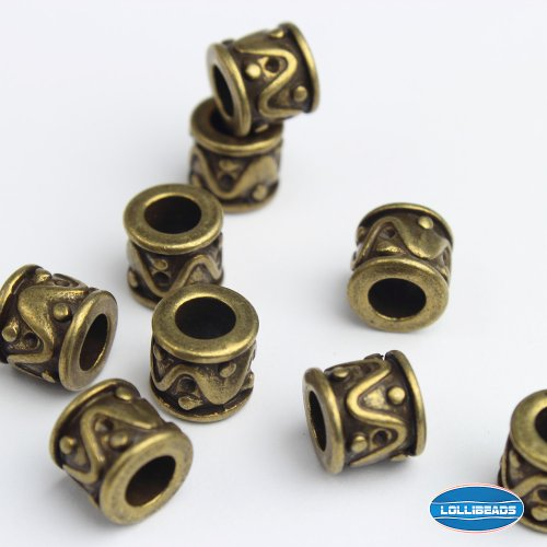 LolliBeads (TM) Jewelry Making Antique Brass Bronze Vintage Style Bead Spacer with Large Hole (30 Pcs) ()