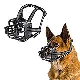 JEMOTEK Dog Muzzle, Basket Dog Muzzles for Dogs Stop Bting and Barking, Adjustable Soft Silicone Dog Mouth Cover with Reflective Strip for Small Medium Large Dog - Black (6 - Dane)