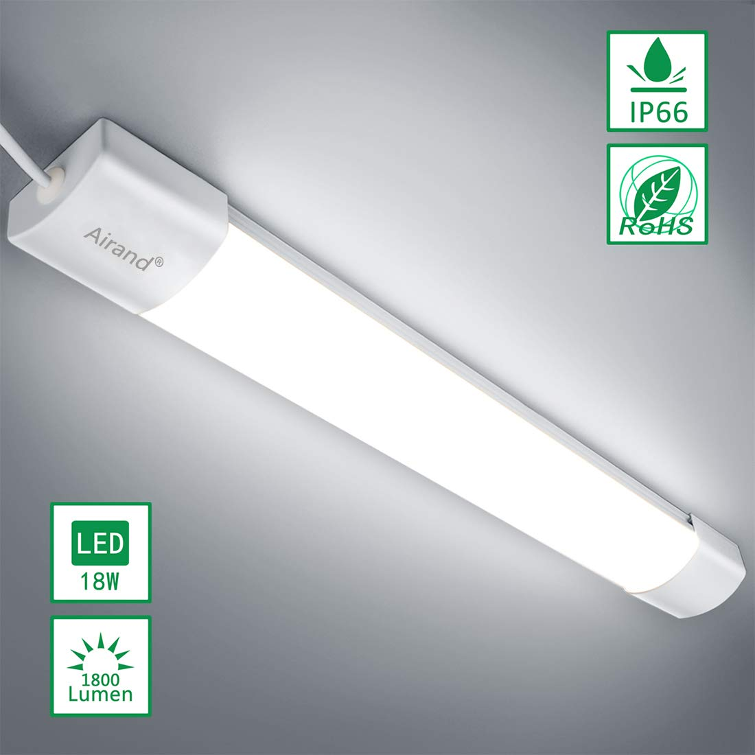 Airand 5000K Ceiling Lights LED Flushmount Shop Light for Garage Lighting Fixture 18W 2FT LED Wraparound Light LED Ceiling Lamp for Kitchen, Bathroom, Cabinet, Basement, LED Office Lights