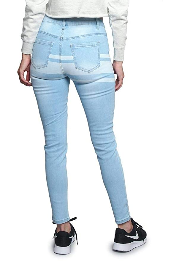 da350cd9d357e American Bazi G-Style USA Women s Ripped Knee Skinny Fit Denim Bottoms at  Amazon Women s Jeans store