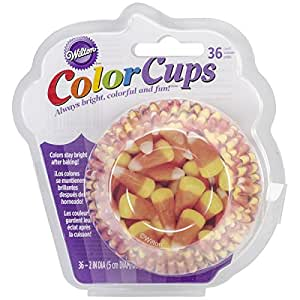 Wilton Clearcup Baking Cups, Standard, Photo Candy Corn, 36 Per Package