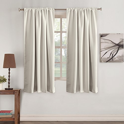 Tab Curtains Ivory Room Darkening Curtains - Thermal Insulated Window Drapes Short Heavy Duty Soft Rod Pocket Curtain Window Treatments for Nursery Bedroom 2 Panels- Ivory - 52