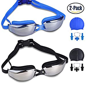 RIHACHAN Swim Goggles, Swimming Goggles Leak Free UV Protection Anti Fog, Swimming Glasses with Adjustable Shoulder Strap for Unisex Adult –Teenagers, with Swimming Caps, Nose Clips, Ear Plugs 2 pack