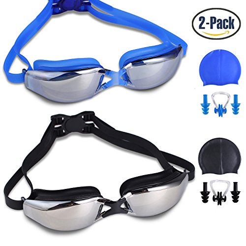 Swimming Goggles, 2 pack, Leak Free UV Protection Anti Fog Swiming Glasses with Adjustable Shoulder Strap for Unisex Adult –Teenagers, with Swimming Caps, Nose Clips, Ear Plugs (YJ Black)