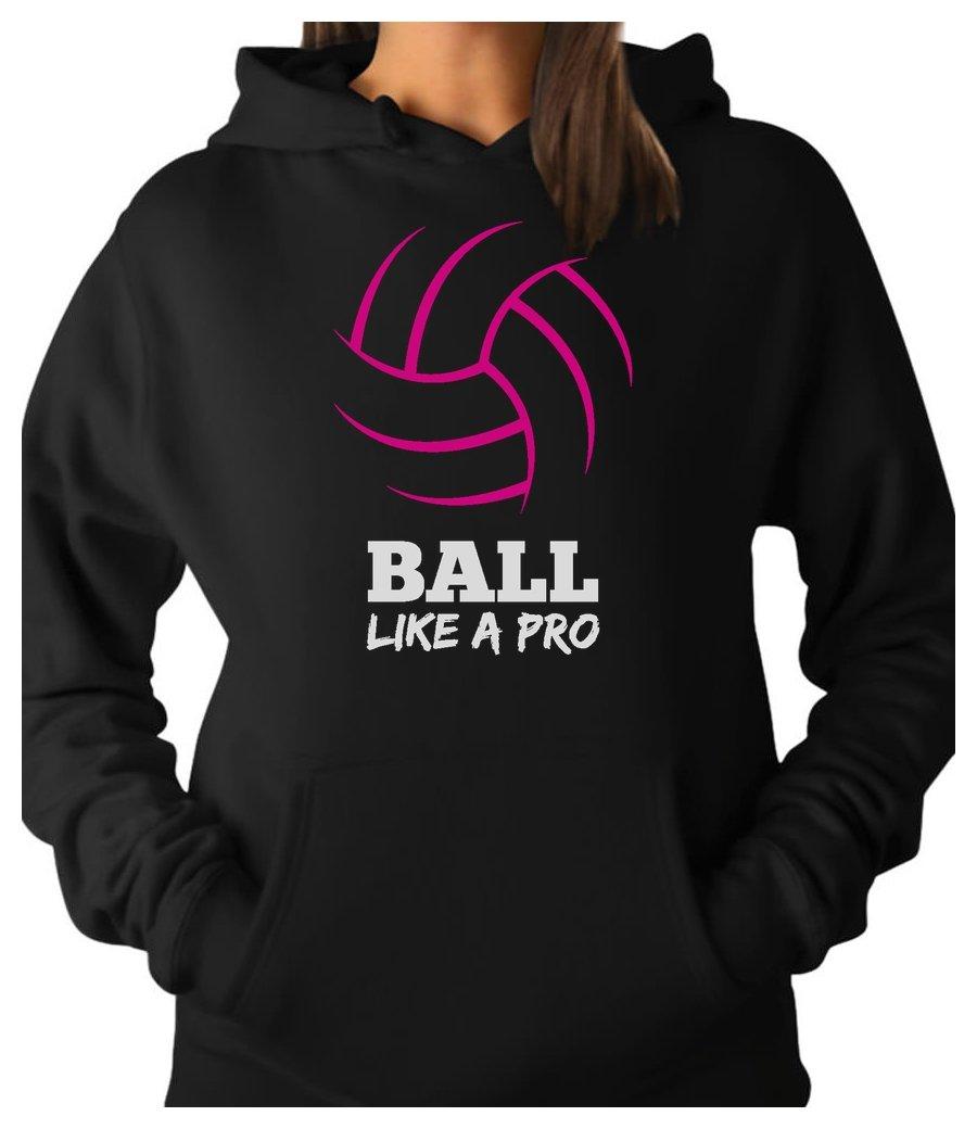 Tstars TeeStars - Women's Volleyball - Ball Like a Pro Players Best Gift Women Hoodie Medium Black
