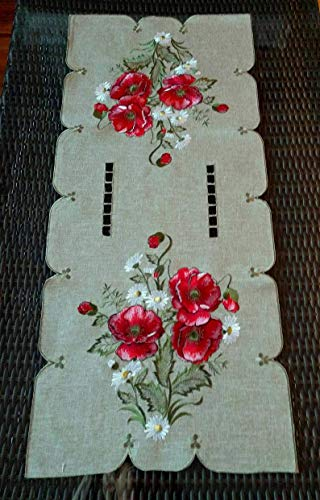 Fashions Fancy Poppy Flowers Embroidered Cutwork Spring Table Top, 1 Pieces, 13 x 32'' Table - Poppy Lace
