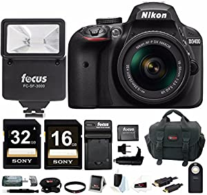 Nikon D3400 DSLR Camera with AF-P DX 18-55mm Lens (Black), + Flash + SLR Photo Bag + Batteries and Charger + Remote + 48GB Card Bundle