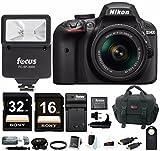 Nikon D3400 DSLR Camera with AF-P DX 18-55mm Lens (Black), + Flash + SLR Photo Bag + Batteries and Charger + Remote + 48GB Card Bundle
