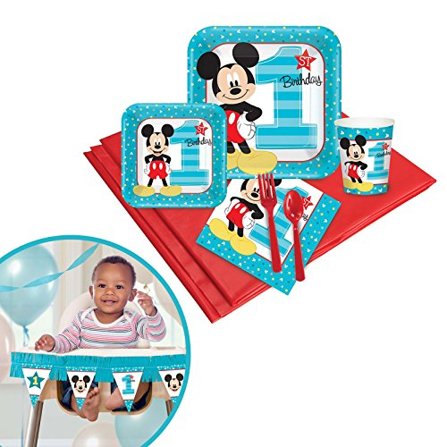 Mickey Mouse 1st Birthday Party Supplies Tableware High Chair Decoration Kit -
