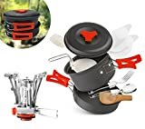 Cheap AnimaMiracle Camping Cookware Mess Kit & Small Backpacking Stove Ultralight, Lightweight, Compact, Folding Pot and Pans | Hiking Outdoors Bug Out Bag Cooking Equipment Cookset