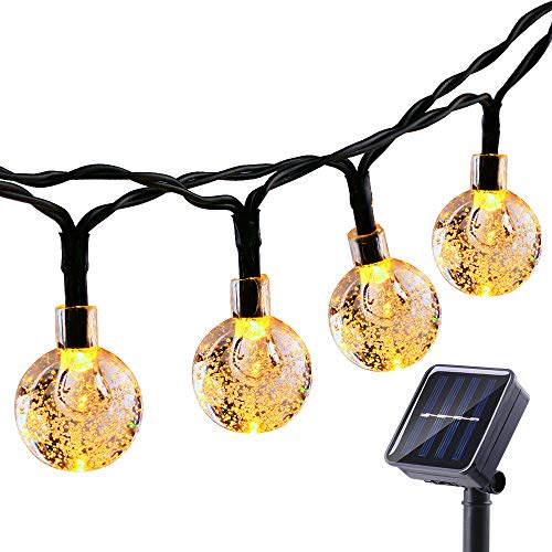 Globe Solar String Lights 50 LED 23ft 8 Modes Solar Globe Lights, Waterproof Crystal Ball String Lights for Patio, Lawn, Garden, Wedding, Party, Christmas Decor(Warm White)