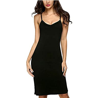 66bbaaf6017 Imposes Women Bodycon Slip Tight Fitted Dress Long Camisoles Sexy Sleepwear  S Black