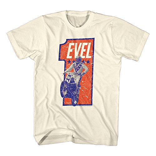 Evel Knievel Numbah One Adult T-Shirt Tee White (Evel Knievel Shirt)