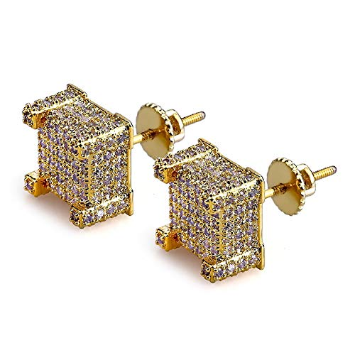 SENTERIA Iced Out Mens Earring Cubic Zirconia Cubist Screw Back 18k Yellow Gold/Silver Plated Hypoallergenic 3D Square Stud Earring for Men and Women Hip Hop Jewelry (Gold)