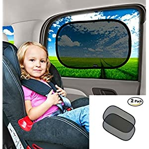 "Car Window Sun Shade-80 GSM for Maximum UV protection- Protect Your Child or Pet from UV rays! Easy installation without suction cups- Extra large-20""x12""sunshades"