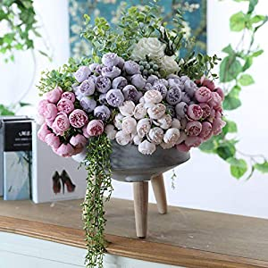 Artificial Silk 27 Heads Tea Rose Flower Bouquet Home Hotel Table Decoration Fake Flower Wedding Bride Holding Floral Bouquet 17