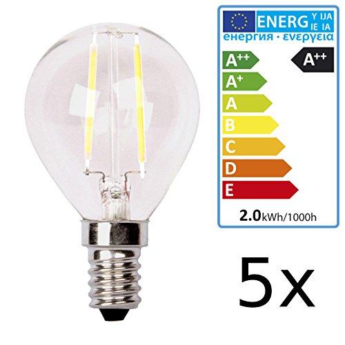 5 LED Leuchtmittel, E14 Fassung, 2700K, entspricht Glühlampe von 20Watt, Energieeffizienzklasse A++