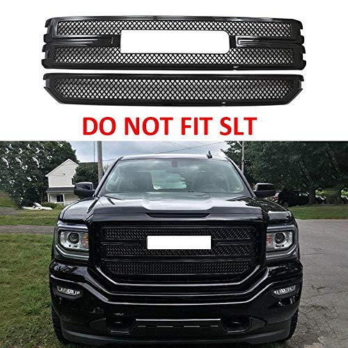 - NINTE Grill Cover for 2016-2018 GMC Sierra 1500 Base & SLE | Chrome Gloss Black Front Bumper Hood Grille Covers - NOT Fit SLT Model