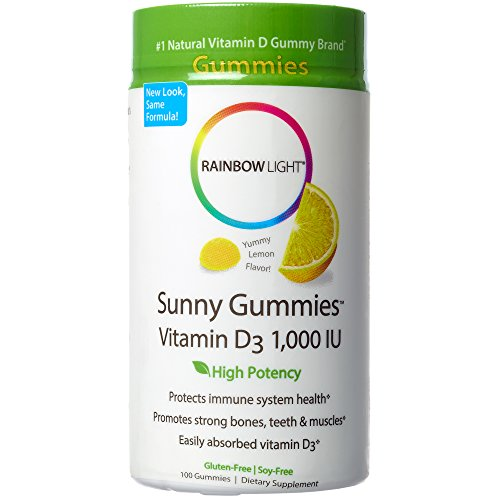 Rainbow Light - Sunny Gummies Vitamin D3 1000 IU, Support for Healthy Bones, Muscles, and Immunity in a Family-Friendly Chewable with Vitamin D3, Soy-Free, Gluten-Free, Sour Lemon, 100 Gummy Drops