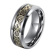 L-Ring 8MM Men's Tungsten Wedding Ring Gold Plated Celtic Dragon Inlay Polished Beveled Edge, Size 7-14