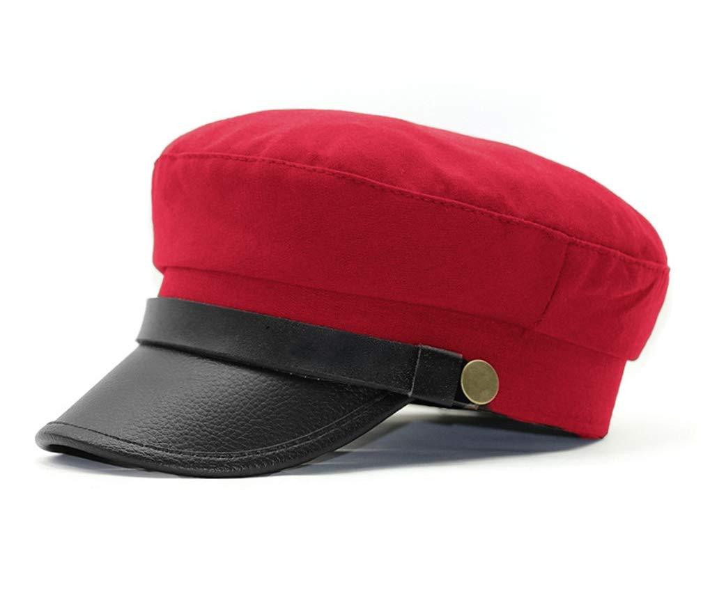 Roffatide Unisex Adult Newsboy Cap Fiddler Hat Driver Officer Chauffeur Cosplay Costume Red