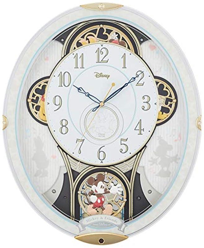 디즈니 미키&《후렌즈》 벽시계 전파 시계 꼭두각시 시계 멜로디 부착 흰색 리듬 시계 M509 4MN509MC03