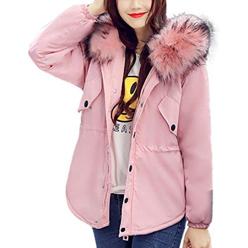 Pelo outwear Moda WINWINTOM Lammy Abrigo Rosa Invierno Collar Grueso Mujer Casual de Chaqueta más THq7X