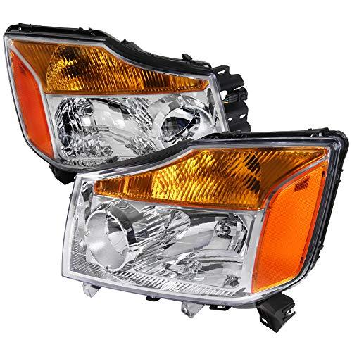 (For Nissan Titan Pickup Armada Amber Chrome Diamond Headlights Pair)