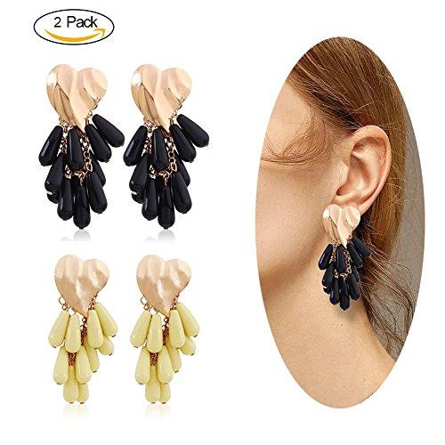 Eternity J. 2 Pairs Statement Earrings Heart Shaped Beads Tassel Dangle Drop Stud Earrings for Women Girls by Eternity J.