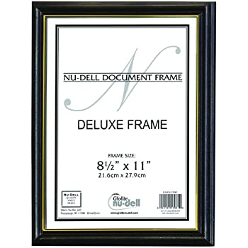 nudell 85 x 11 gold trim deluxe document frame black w gold trim