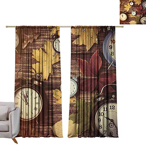 Thermal Insulated Drapes for Bedroom Fall Different Colored Dry Maple Leaves and Various Alarm Clocks on Wooden Planks Print Darkening and Thermal Insulating W84 xL84 Multicolor