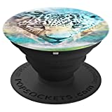 Wild Leopard Animal Head Jungle Collage Photograph - PopSockets Grip and Stand for Phones and Tablets