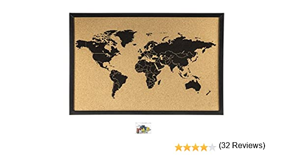 Corcho mapamundi negro, 60 x 40cm: Amazon.es: Oficina y papelería
