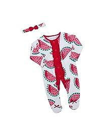 Babies Watermelon Sleepsuit / Babygro with Hat or Headband ~ Newborn - 9 Months
