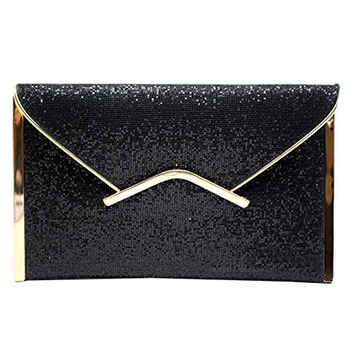 Satin Frame Clutch Handbag - Amily Glitter Sequins Sparkle Envelope Clutch Handbag Purse Tote (Black Color)