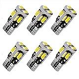 12V 6pcs T10 LED Bulb,194 LED Bulb, 168 LED Bulb, 2825 W5W LED Bulbs, Super Bright 6000K White 10SMD 5730 Chipset 250LM LED Bulb for Car Interior Dome Map Door Courtesy License Plate Lights