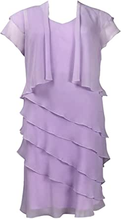 Ursula of Switzerland Knee Length Chiffon Dress with Bolero Jacket Lavender