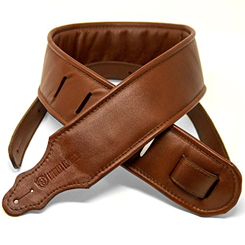 Logical Leather Padded Leather Guitar Strap - Genuine Leather Straps for Acoustic or Electric Guitars or Bass - Brown ()