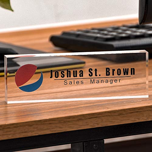 Logo Block - Acrylic Desk Nameplate Office Decor Desk Bar Custom Personalized Name, Title & Logo on Clear Acrylic Block Customized Desk Plate Accessories Appreciation Gift (7.87'' x 2.36'' x 0.78'')