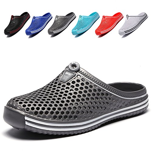 LIGHTEN Garden Shoes Womens Mens Quick-Dry Clogs Comfort Walking Sandals Slippers Non-Slip Beach Shower Water Shoes Grey2 38