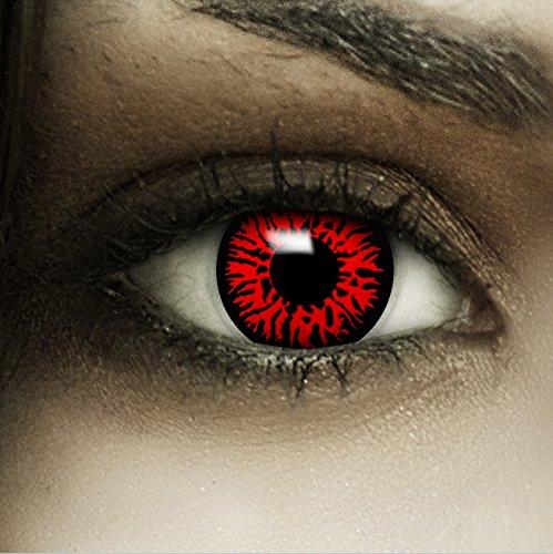 Farbige Kontaktlinsen MIT Stärke 'Dämon' rote Crazy Fun Linsen perfekt zu Halloween und Karneval