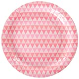 We Love Sundays Pink Geo Paper Plates | 10-Pack | Great for Pastel and Pink Themed Parties