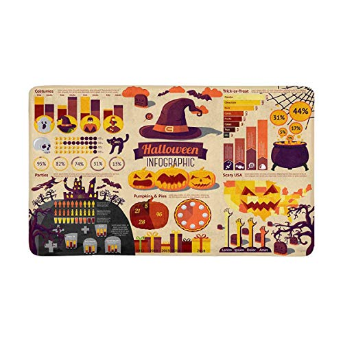 InterestPrint Set of Halloween Infographic Elements with Icons Doormat Non-Slip Indoor and Outdoor Door Mat Rug Home Decor X-Large 30 x 18 Inches -