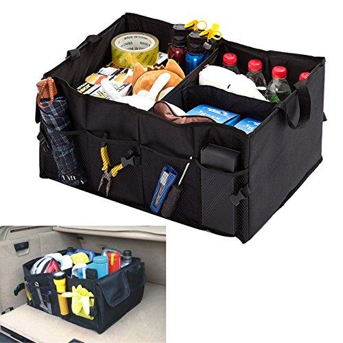 Trader Plus Premium Quality Folding Auto Car Trunk Organizer for SUV, Truck, Minivan, Home - Durable Collapsible Cargo Storage - Black - 21' x 15' x 10'