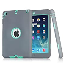 iPad mini Case, iPad mini 2 Case, iPad mini 3 Case, iPad mini Retina Case, Easytop 3in1 Anti-slip Hybrid Protective Heavy Duty Rugged Shockproof Resistance Cover for iPad Mini 1/2/3 (Grey + Mint)