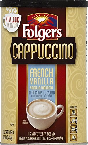 Folgers Cappuccino French Vanilla Beverage Mix, 16 Ounce